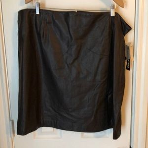 Plus Size Chocolate Brown Leather Skirt Size 24.